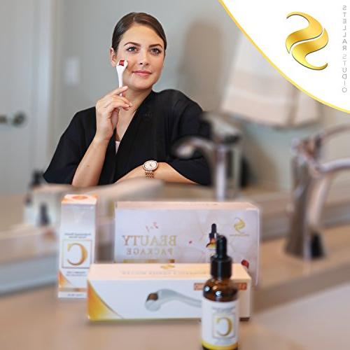 Derma Roller Micro Needle Face With Vitamin C 25% Acid, .25mm 540 Microneedling Kit Also Includes Case