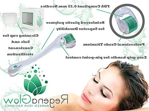 Derma Roller and Microneedle Titanium Includes Storage Disinfectant Bottle, Bag and