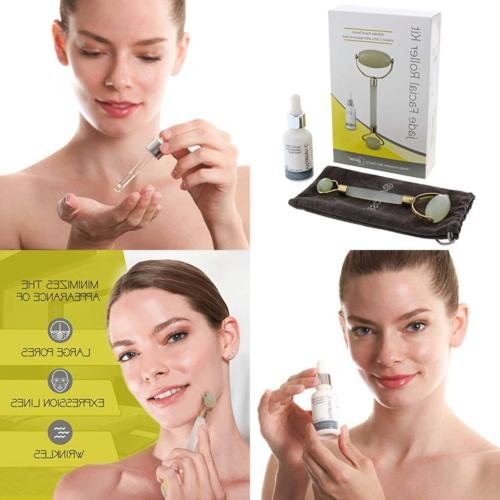 Jade Roller Kit with Face – Skin Therapy Set Stone Massager Vitamin C – Tightens Look Look of Circles, + E-Book