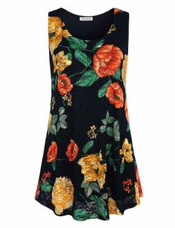 BaiShengGT Women's Round Neck Sleeveless Lace Floral Print T